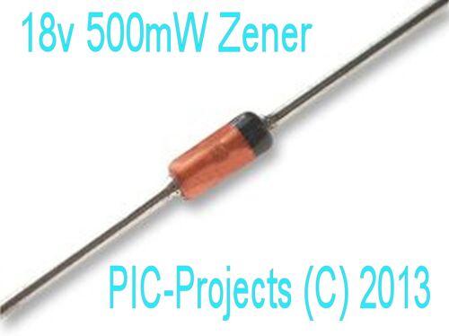 18v Zener diode BZX55C18V 18 volt 500mW DO41 ROHS 10