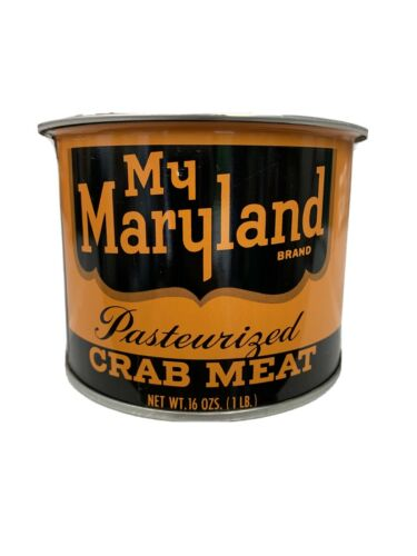 1 POUND MY MARYLAND BRAND CRAB MEAT TIN CAN CRISFIELD MARYLAND MD 206-P WITH LID