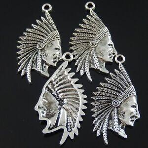 02715 Antique Silver Alloy Native Indian Head Portrait Charm Pendant 10 PCS