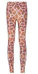 Animal-Giraffe-Savannah-Zoo-Safari-Vacation-3D-Print-Stretchy-Brown-Leggings