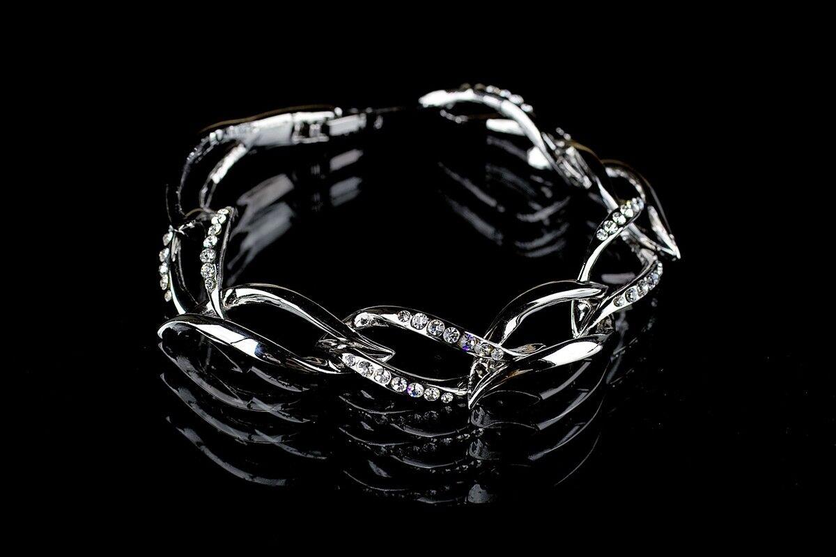 Wedding Bridal Bracelet Silver Links With Insets Swarovski Rhinestone Elements
