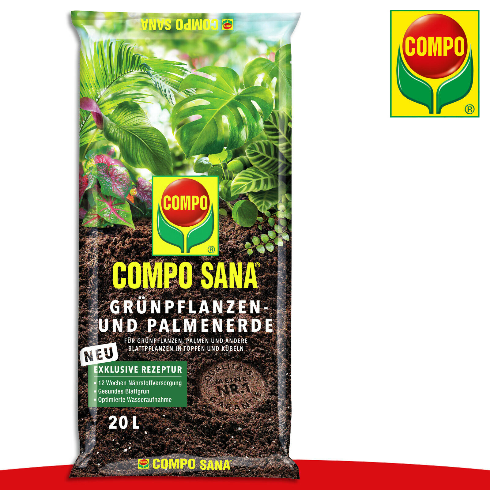 COMPO Sana 20L Green Plants And Palmenerde Nutrients Pot Growth Care Flower Bed