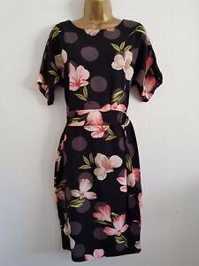 NEW-Ex-Wallis-10-16-Spotted-Black-Pink-Floral-Print-D-Ring-Shift-Midi-Dress