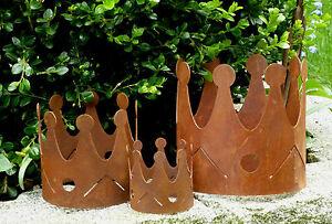 Krone windlicht teelichthalter 4 gr en metall edelrost for Gartendeko gusseisen rostig