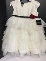 Holiday Edition Girls Valentine Dress Sparkling Beige Tutu Layer Size 2t Toddler
