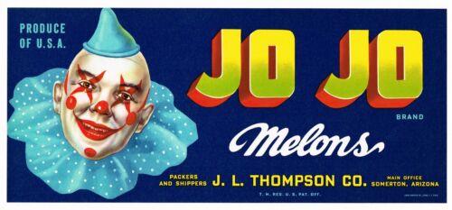 GENUINE CRATE LABEL VINTAGE JOJO CLOWN CIRCUS SOMERTON MELONS ADVERTISING 1950S