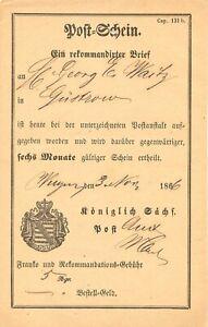 SACHSEN-1866-Postschein-der-Koeniglich-Saechs-Post-fuer-034-Ein-Rekommandirter-Brief-034