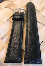 Genuine ESQ by MOVADO 20mm Long Black Expo Calf Watch Band Strap Silver Buckle