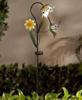 Flower & Hummingbird Solar Stake Walkway Yard Garden Lighting Home Decor