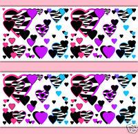 Rainbow Zebra Animal Print Heart Wallpaper Border Wall Decals Girls Room Decor