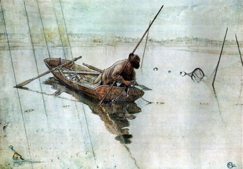 Fishing  by  Carl Larsson   Paper Print Repro