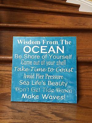 Wisdom from the ocean sign, Beach house sign decoration, Beach bathroom