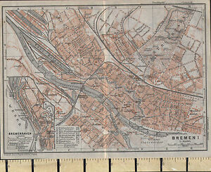 1925 GERMAN MAP BREMEN CITY PLAN INSET BREMERHAVEN PUBLIC