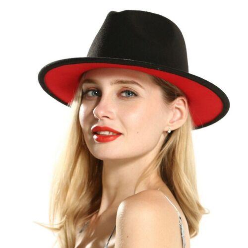 Women Ladies Black Red Patchwork Jazz Fedora Wide Brim Hat With Ribbon Wool Felt