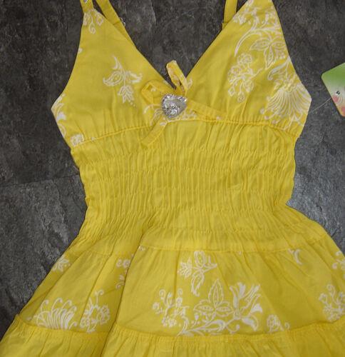 Mädchen Sommerkleid Neckholderträger Kleid mit Herz Strassstein 2-14 Jahre Neu