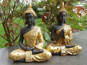 Thai-Buddha-Lotussitz-gold-braun-Figur-Feng-Shui-Statue-Skulptur-ASIA-21-cm-NEU