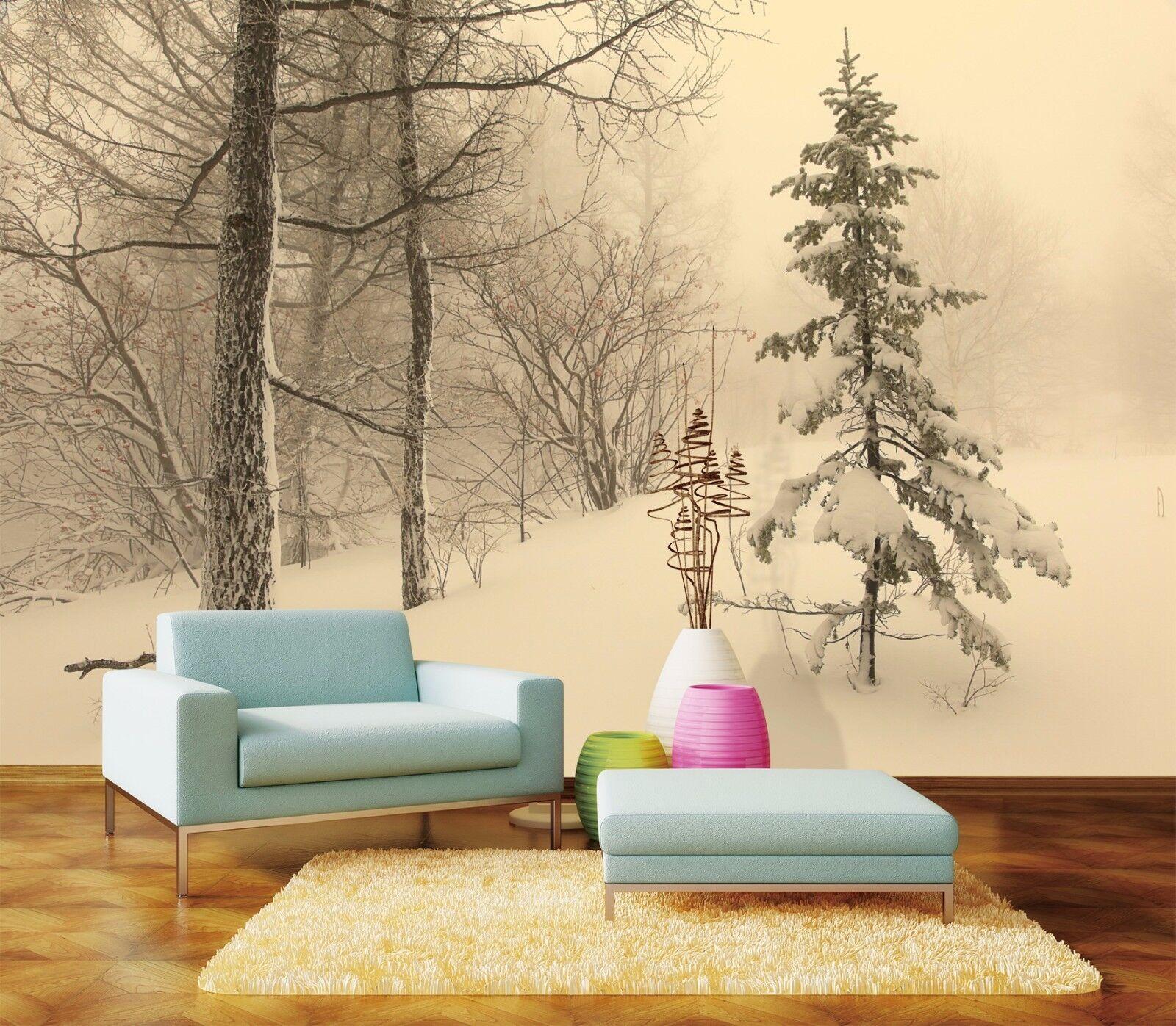 3D Misty Snow Pine 7 Wall Paper Murals Wall Print Wall Wallpaper Mural AU Summer