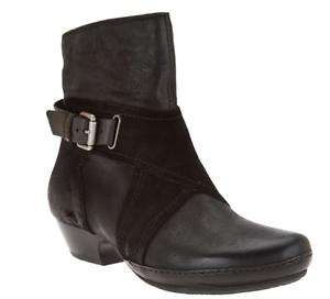 Miz Mooz Leather Boots w/ Crossover Detail Elwood Black Women's EU42 US 10.5-11
