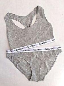 c1b12d90ab Calvin Klein 2pc Gray Bralette Sports Bra and Bikini Underwear Set S ...