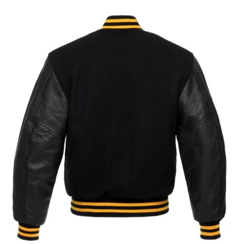 Pure Black Wool Varsity Jacket Yellow Arms Bomber Real Letterman Leather Rib q66XFwr