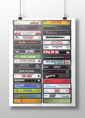 1980s Classic Songs Original Cassette Print Music Party 80/'s Singles Poster