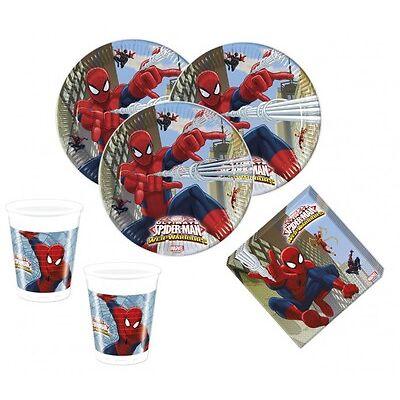 52 tlg. Spiderman Web Warriors Party Deko Set für den Kindergeburtstag 16 Kinder