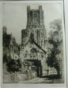 Antique-Original-Etching-of-Ely-Cathedral-by-James-Alphege-Brewer-signed