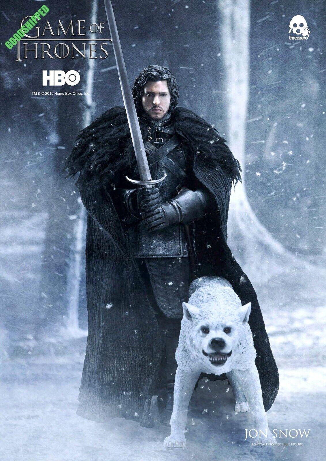 Listo THREEZERO HBO Juego de Tronos Jon Snow Albino huargo Fantasma De Lujo Menta en Caja Sellada