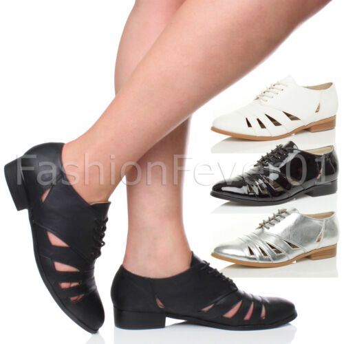 Womens ladies flat low heel cut out lace up oxford brogue shoes size