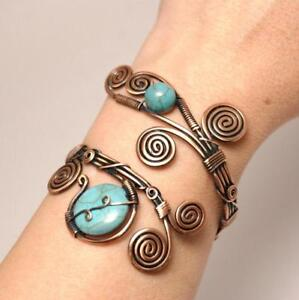 Handmade-Wire-Wrap-Turquoise-Cuff-Bracelet