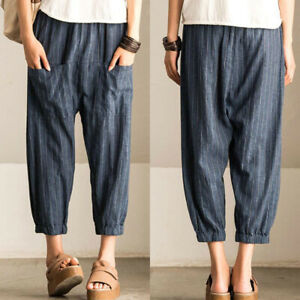 Women-Elastic-Waist-Wide-Legs-Stripe-Loose-Harem-Pants-Long-Pants-Trousers-Plus