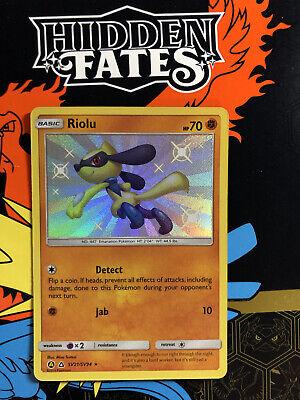 Pokemon Hidden Fates Shiny Riolu SV21//SV94 Secret Holo Ultra Rare MINT Full Art
