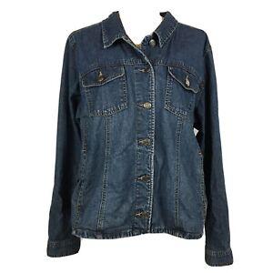 Cherokee-Women-039-s-Size-XL-Blue-Denim-Jean-Jacket-Button-Front-Pockets-Lightweight