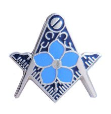 Square and Compass Cut Out Masonic Freemason Forget Me Not Pin Badge