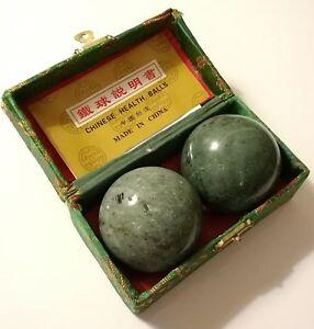 Blackish Jade Green Marble Stone Chinese Healthy Exercise Massage Baoding Balls