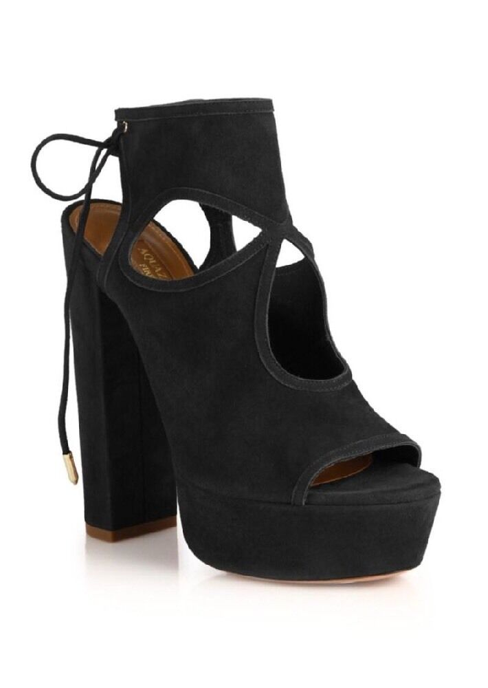 Aquazzura Sexy Cutout Thing Cutout Sexy Suede Tie-Back Platform Sandals Black New In Box 40 3fc1c3