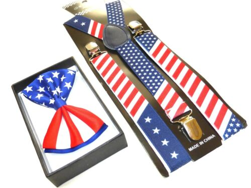 NEW PATRIOTIC US AMERICAN FLAG USA Suspenders and Bow Tie