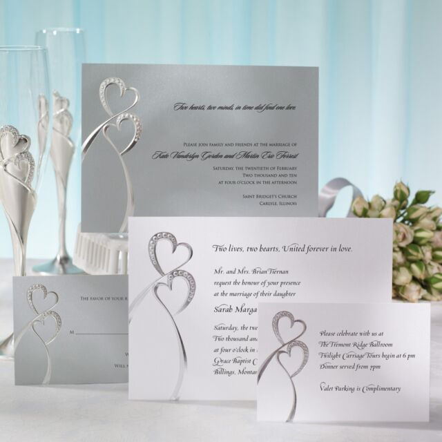 Sparkling Love Double Heart Wedding Invitation Set - Raised Printing Included!!!