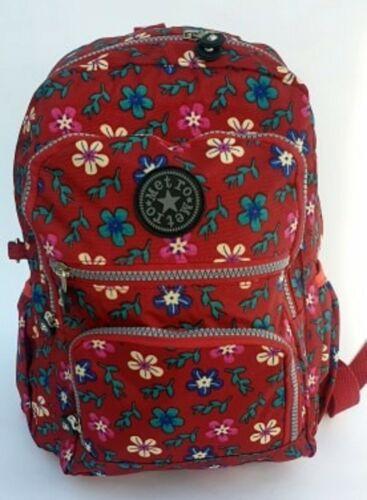 New Strong Lightweight Zipped Floral Patterned Rucksack//Handbag Blue Red