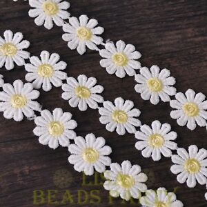 NEW-1-Yard-0-95-039-039-Width-Embroidered-Lace-Trim-Applique-DIY-Crafts-Light-Yellow