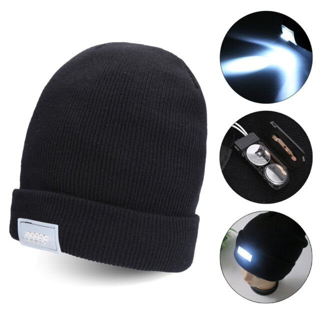 5 LED Lighted Cap Hat Winter Warm Beanie Angling Hunting Camping Running Fishing