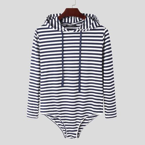 Men/'s All In One Long Sleeve Hooded Jumpsuit Bodysuit Leotard Shorts Underwear