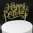 New Happy Birthday Gold Silver Letters Cake Topper Party Supplies Decorations