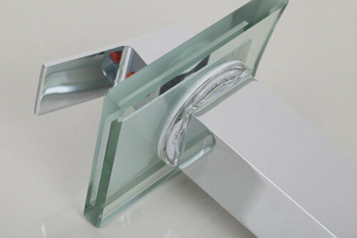 LED Waterfall Bathroom Faucet Single Handle Basin Sink Mixer Tap Lavatory Faucet