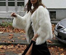 Zara Polvoriento Rosa corto Faux fur abrigo chaqueta Bloggers medio 8 10 12 6873/101