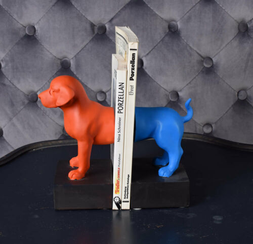 Skulptur HUND BÜCHERREGAL DEKO BUCHSTÜTZEN Hundeskulptur Hundefigur Kinderzimmer