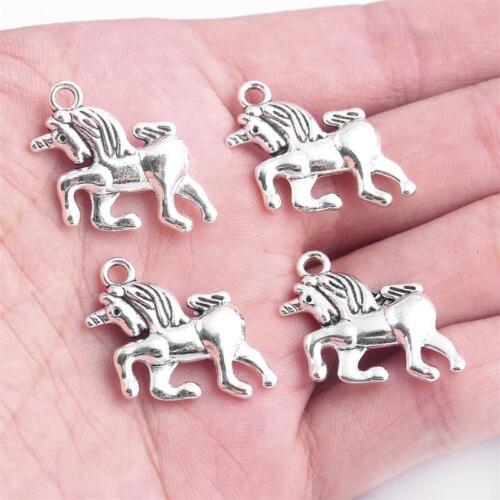 10X Tibetan Silver Unicorn Zinc Alloy Charm Pendant 23*13mm DIY Jewelry Making