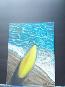 Original-Acrylic-Painting-9-x-12-Canvas-Panel-Surf-on-Beach-Nautical-Surfing-Art