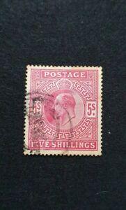 GB-KING-EDWARD-VII-SG-318-5S-CARMINE-FINE-USED