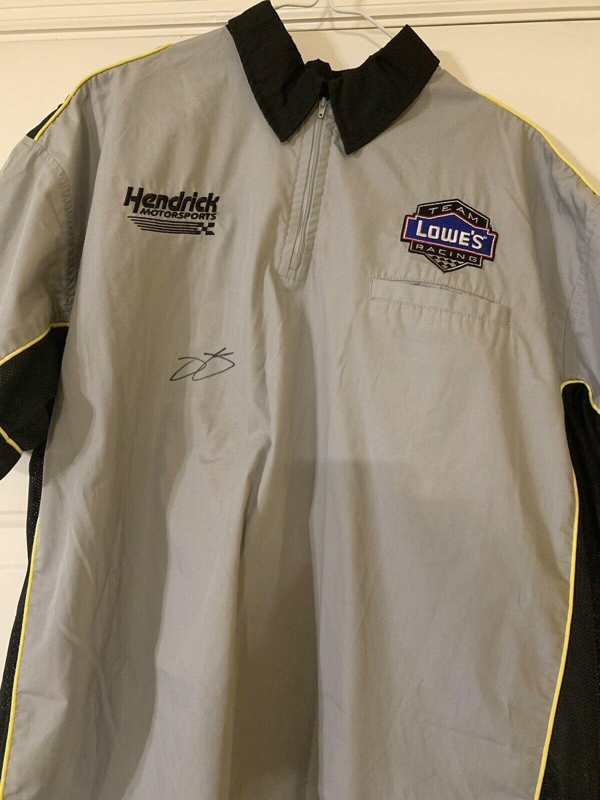 2006 Jimmie Johnson Autographed Lowes Race Used 1st Championship Crew Shirt